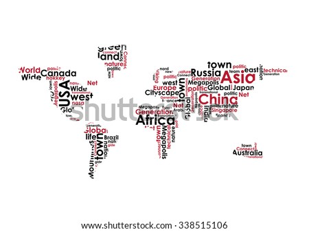 Abstract world map made words vector vectores en stock 338515106 abstract world map made from words vector illustration gumiabroncs Choice Image