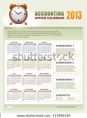 Corporate Office Calendar Template Grid Stock Vector