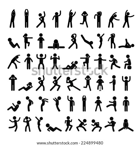 action people symbol set on white background  - stock vector