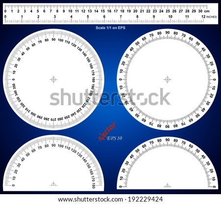 Actual Size Graduation - ruler - protractor - stock vector