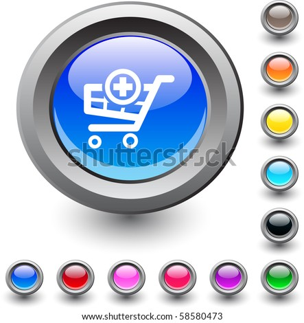 Add to cart  metallic vibrant round icon. - stock vector