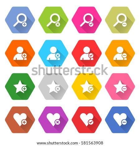 16 addition icon long shadow set 07. White sign on colored rounded hexagon web button on white background. Simple minimalistic flat style. Vector illustration internet design graphic element 10 eps - stock vector