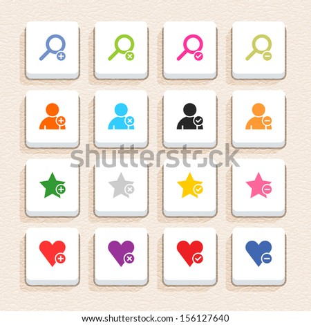 16 addition sign icon set 07 (color on white). Square web internet button with long shadow on beige paper background plastic texture. Simple flat style. Vector illustration design element 10 eps - stock vector