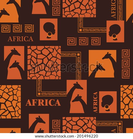 African seamless pattern with skin of giraffe and beautiful ethnic woman. Vector - stock vector