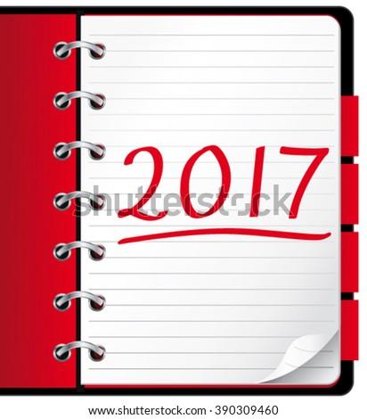 2017 agenda. Red office notebook. Vector Illustration.  - stock vector