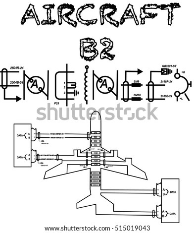 Aircraft b 2 engineer text wiring diagram stock vector 515019043 aircraft b2 engineer text with wiring diagram designed like an aircraft for printing asfbconference2016 Gallery