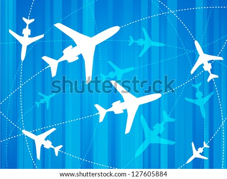 Airplane Routes. Vector illustration for your business artwork. - stock vector