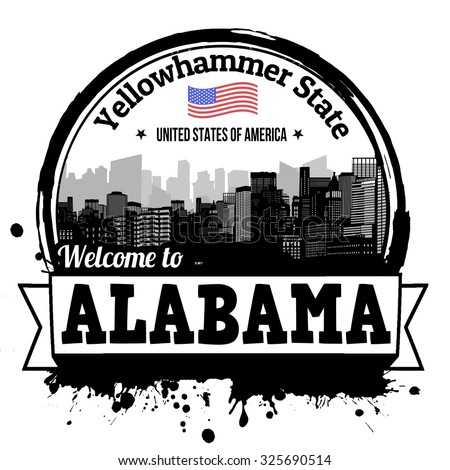 Alabama vintage stamp with text Yellowhammer State written inside, vector illustration - stock vector