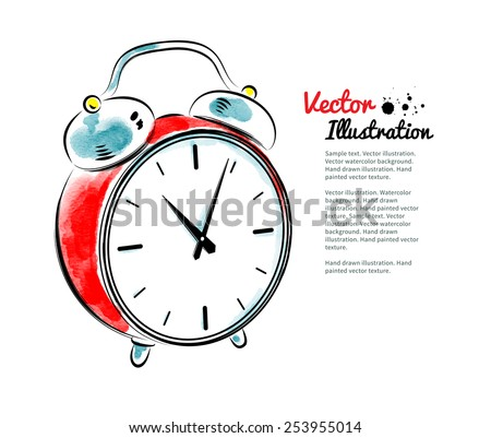 Alarm clock. Watercolor and line art. Vector illustration. Isolated. - stock vector
