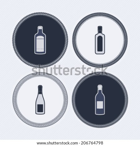 4 alcohol bottles icons shows off different bottles shapes like a vodka and a beer. Pictured here from left to right -  Whiskey bottle, White wine glass, Red wine bottle, Gin bottle. - stock vector