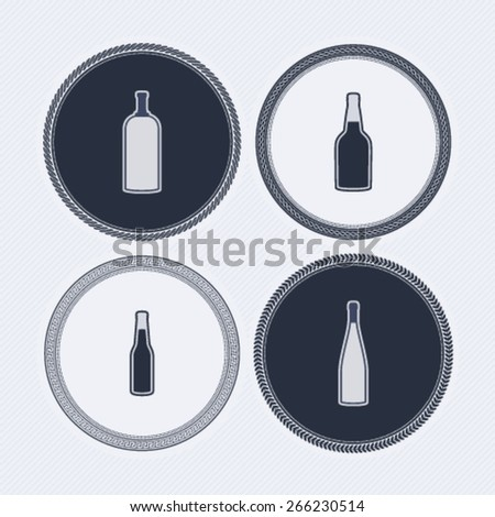 4 alcohol bottles icons shows off different bottles shapes like a vodka and a beer. Pictured here from left to right -  vodka, cognac, beer, wine.  - stock vector