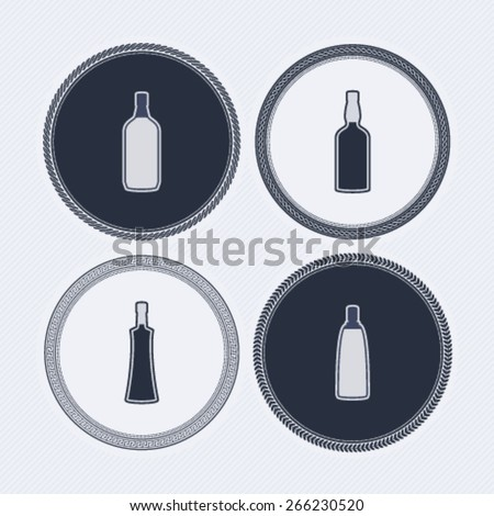 4 alcohol bottles icons shows off different bottles shapes like a vodka and a beer. Pictured here from left to right -  gin, whiskey, vodka, vodka. - stock vector