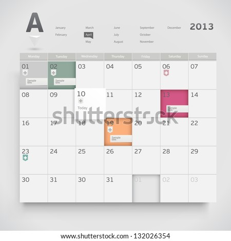?alendar design - stock vector