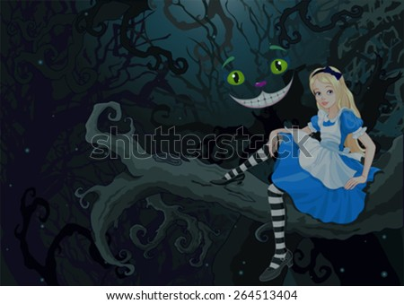 Alice sitting on a branch on the Wonder forest 