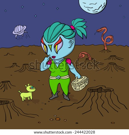 Alien girl with her pet after landing on new planet. Dangerous dragon-snake behind them. The spacecraft has just kicked off the planet. - stock vector