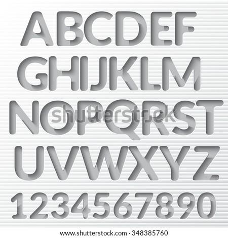 Alphabet Set with shadow - stock vector
