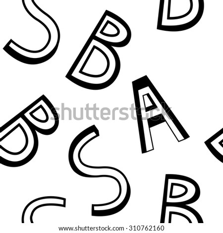 Alphabets Seamless Hand Drawn Outline Pattern