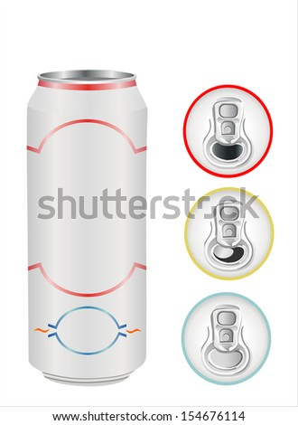 aluminium can on white ? top view - stock vector