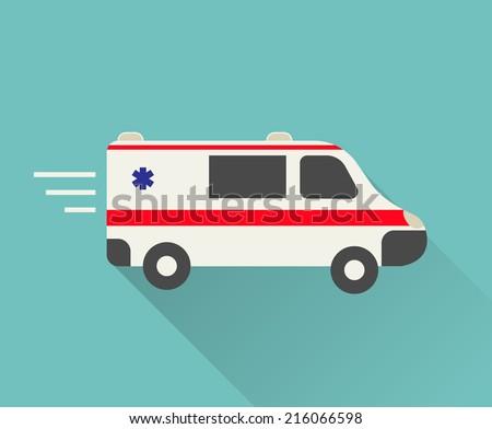 Ambulance car icon in flat design style, vector illustration - stock vector