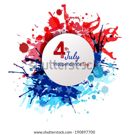 American Independence Day of 4th July with round banner on grungy flag color background. EPS 10. Can be used as banner, poster and flyer. - stock vector