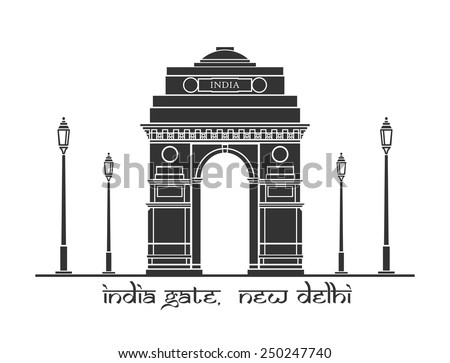 An illustration of India Gate in New Delhi, India - stock vector