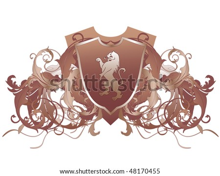 An ornate heraldic shield with lion - stock vector