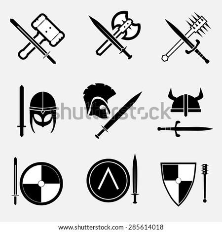 Ancient warrior icon set . VECTOR illustration.  - stock vector