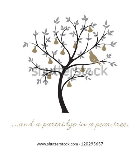 And A Partridge In Pear Tree Christmas Card Vector
