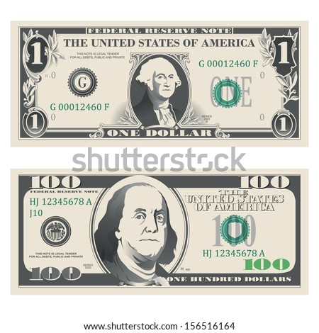1 and 100 highly detailed dollar bank notes - stock vector