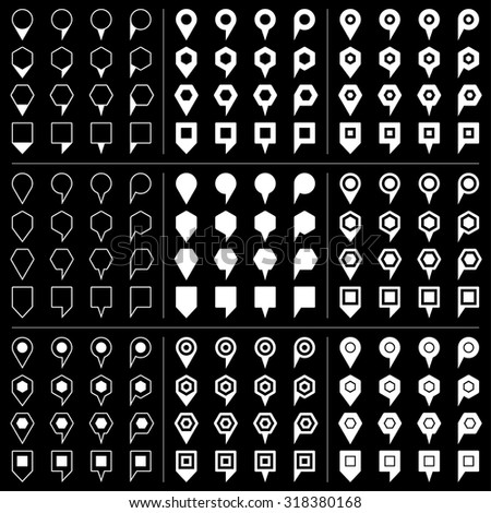 100 and 44 map pins sign location icon with gray shadow in flat style. Set 04 Simple white shapes on black background. This vector illustration web design element save in 8 eps - stock vector