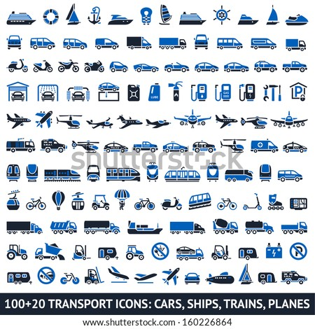100 AND 20 Transport blue icons, vector illustrations, silhouettes isolated on white background - stock vector