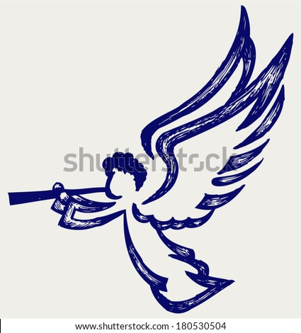 Angel with trumpet. Doodle style - stock vector