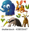 2010 animal set:  elephant, numbat, anteater, goat - stock vector