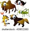 2010 animal set: zebu, mole, grasshopper, wolverine, hoopoe - stock vector