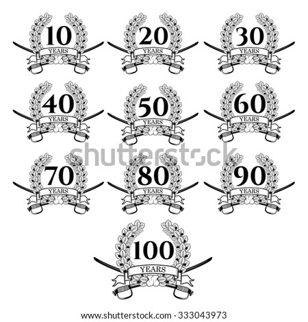 10-100 anniversary oak  wreath. Celebration and congratulation design template. Vector congratulation design template.