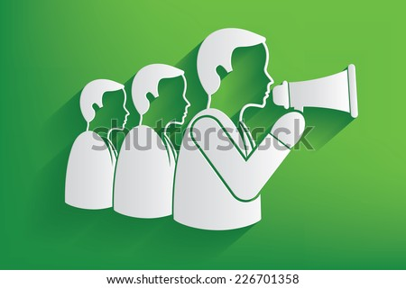 Announce businessman design on green background,clean vector - stock vector