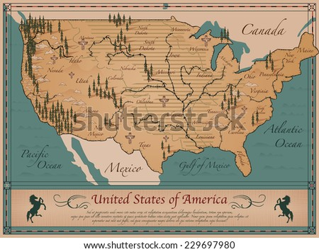 Antique Map of  United States of America - stock vector