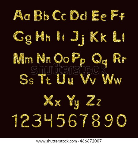 Aphabet fonts with golden glitter. Golden letters and numbers.