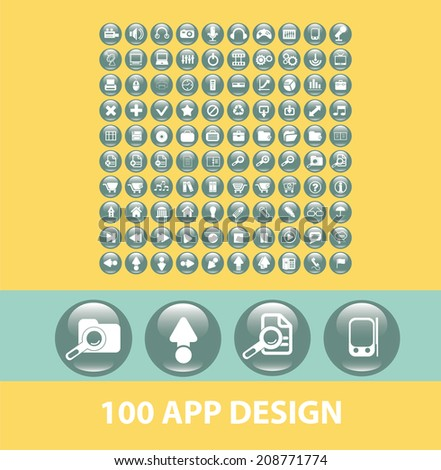 100 app design black flat glossy buttons, icons, signs, symbols set, vector - stock vector