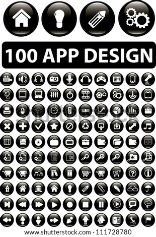 100 app design buttons set, vector - stock vector