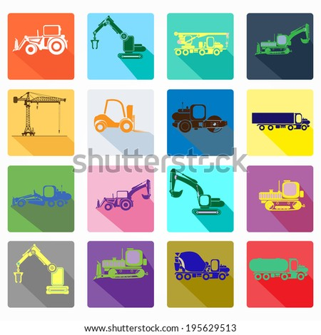 App icon set of construction machinery. Design elements for mobile and web applications.