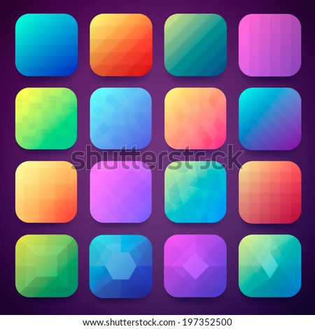 16 App icons background set for mobile device - stock vector