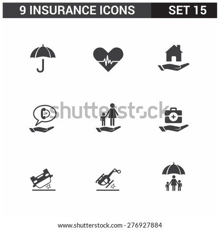 9 application Insurance Icons set. Flat Icon Design - stock vector