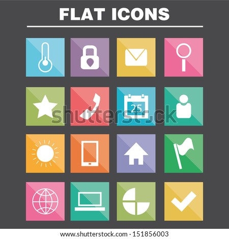 Application Web Icons Set in Flat Design