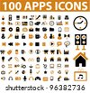 100 apps icons set, vector - stock vector