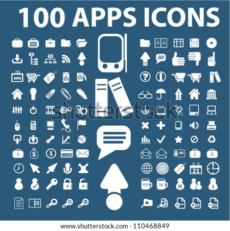 100 Apps Mobile Phone Icons Set Stock Vector Royalty Free