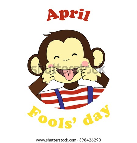 1 April Fools day. Vector funny cartoon All fools day icon. April fool prank. Ape put out tongue. - stock vector