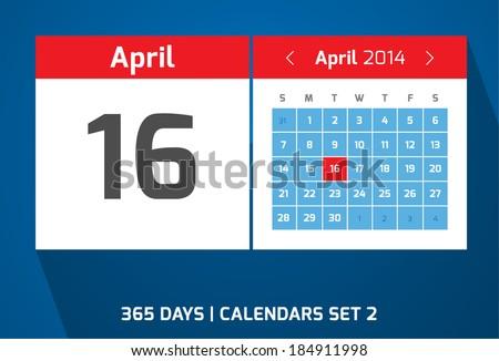 16 April vector day calendar, flat design, Set 2  - stock vector