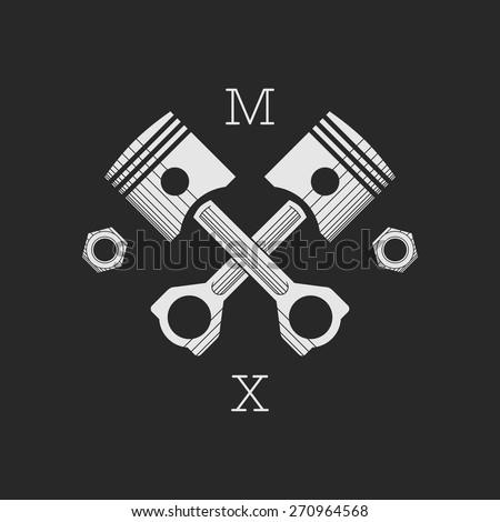 ?ar or bike workshop logo template (concept). Vector illustration. Car engine pistons and nuts combined in vector sign. Logo template. - stock vector