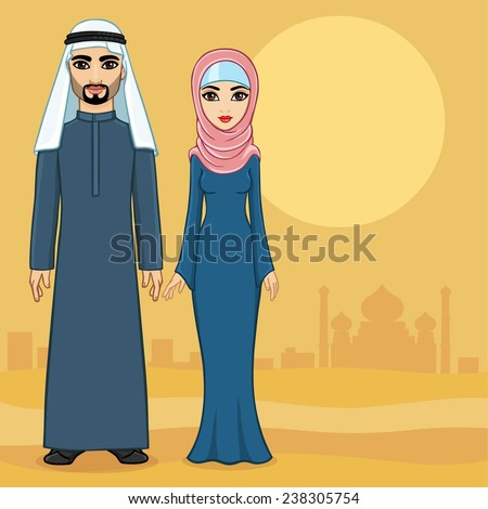 Arab family in traditional clothes against the desert and ancient city. Full growth. - stock vector